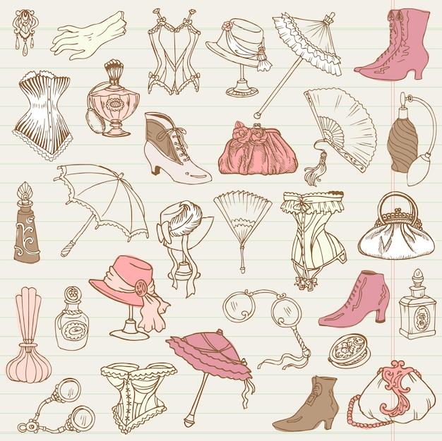 Kolekcja doodle mody i akcesoriów damskich