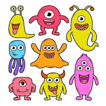 Kolekcja doodle potwora