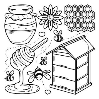 Kolekcja doodle pszczoły miodnej