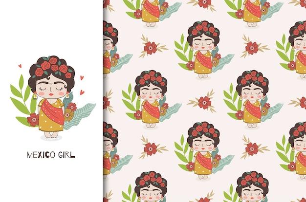Kolekcja doodles postaci meksykańskiej dziewczyny.