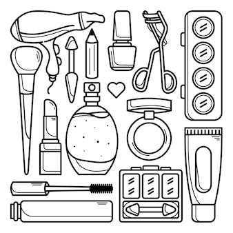 Kolekcja doodli do makijażu i kosmetyków