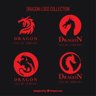Kolekcja dragon logo o płaskiej konstrukcji