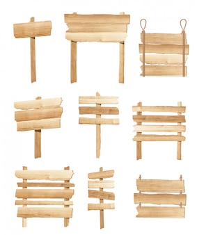 Kolekcja drewniane znaki pokładzie lub drogowskaz wektor