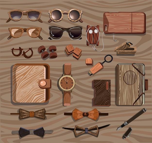 Kolekcja drewnianych akcesoriów hipster