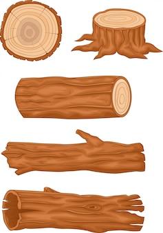 Kolekcja drewnianych kłód