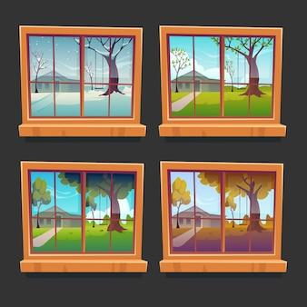 Kolekcja drewnianych okien i pór roku z kreskówek