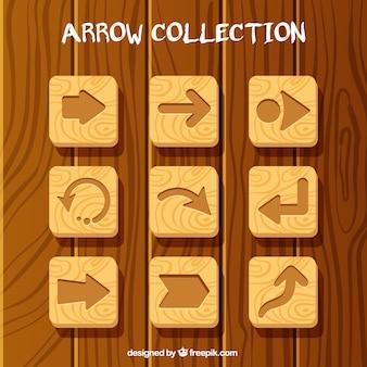 Kolekcja drewnianych strzały