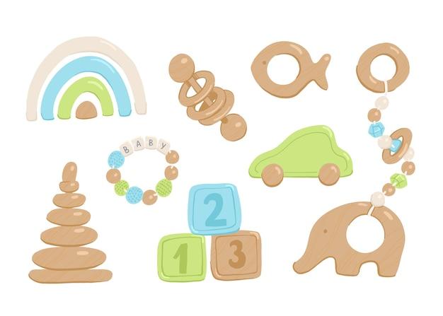 Kolekcja drewnianych zabawek dla niemowląt i małych dzieci.