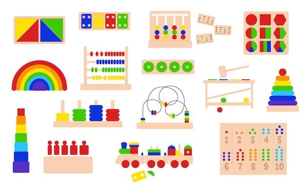 Kolekcja drewnianych zabawek edukacyjnych logicznych do gier montessori. system montessori do rozwoju wczesnodziecięcego. zestaw obiektów wektorowych na białym tle.