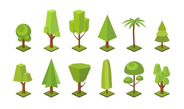 Kolekcja drzew low poly różnych typów na białym tle