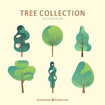 Kolekcja drzew w stylu 2d