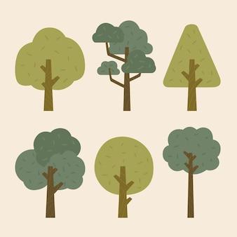 Kolekcja drzew w stylu płaskim