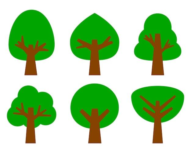 Kolekcja drzewek graficznych w odcieniach zieleni