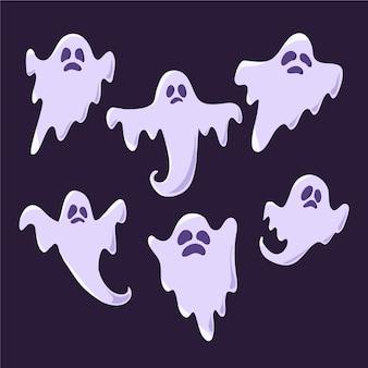 Kolekcja duchów halloween w płaskiej konstrukcji