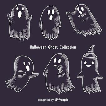 Kolekcja duchów halloween w różnych pozach