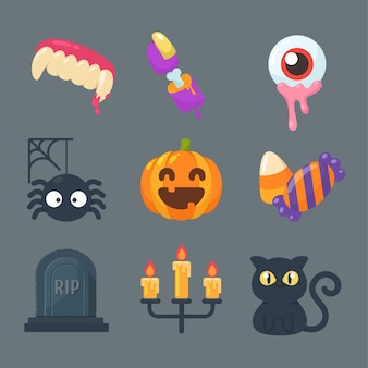 Kolekcja duchów i przedmiotów na halloween.