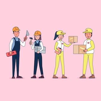 Kolekcja duży zestaw izolowanych różnych zawodów lub zawodów osób noszących profesjonalne mundury, płaska ilustracja.