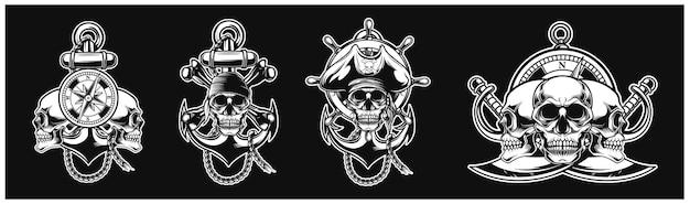 Kolekcja dwóch załogi piratów projekt zestawu na tle logo t-shirt