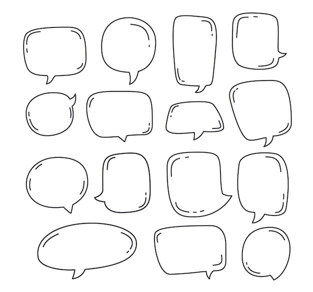 Kolekcja dymek lub elementy czatu w ręcznie rysowane bańki mowy