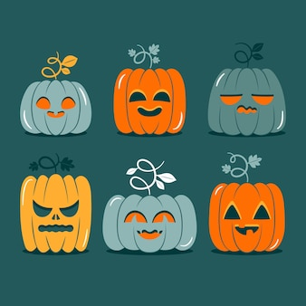 Kolekcja dyni halloween w płaskiej konstrukcji