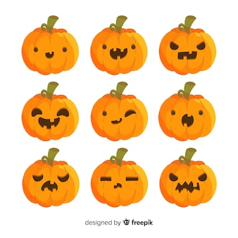 Kolekcja dynie halloween z różnych twarzy