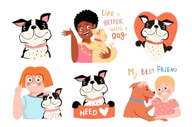 Kolekcja dzieci i psów miłość i uściski ze szczeniętami dzieci właściciele psów i psia przyjaźń