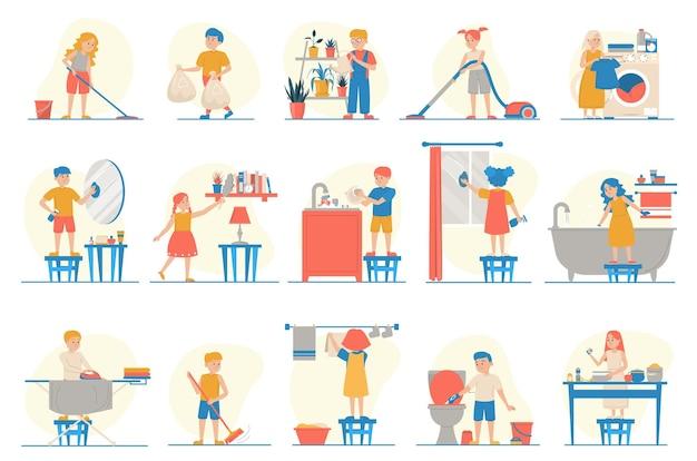 Kolekcja dzieci wykonujących prace domowe