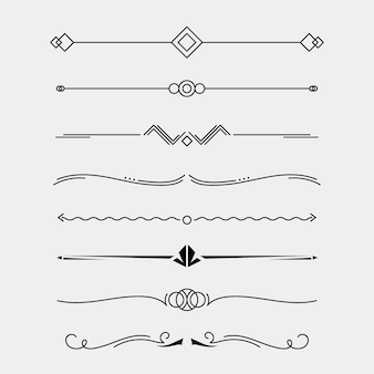 Kolekcja dzielników kaligraficznych ozdobnych linii