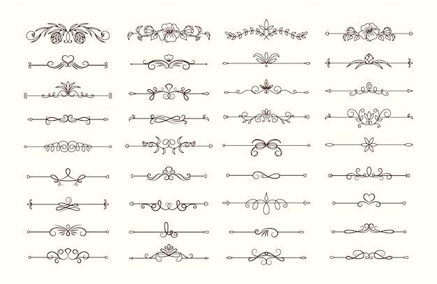 Kolekcja dzielników tekstu vintage