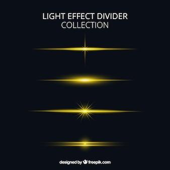 Kolekcja dzielników ze złotym efektem świetlnym