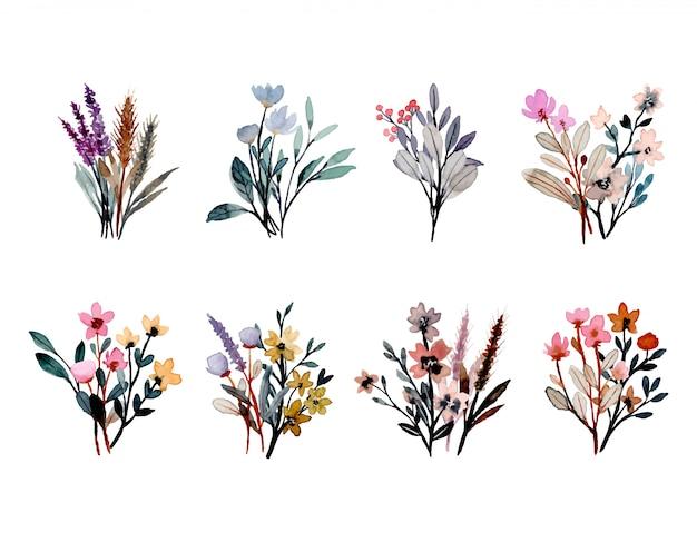 Kolekcja dzika kompozycja kwiatowa akwarela