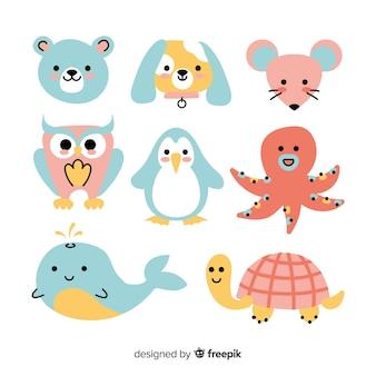 Kolekcja dzikich kolorowych zwierząt
