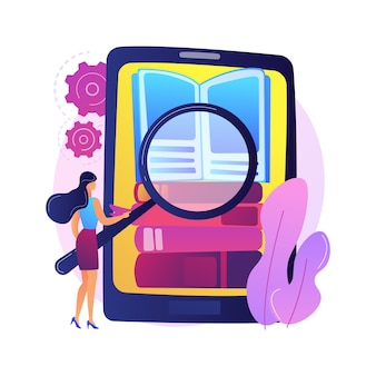 Kolekcja e-booków. archiwum biblioteczne, e-czytanie, literatura. mężczyzna kreskówka ładowanie książek w czytniku. mężczyzna wkładający powieści w okładki na półce.
