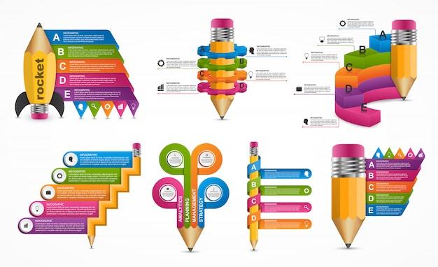 Kolekcja edukacji infografiki szablon.