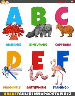 Kolekcja edukacyjnych kreskówek alfabetu ze zwierzętami