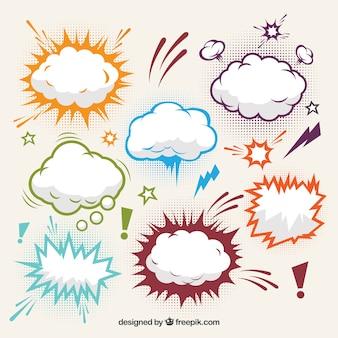 Kolekcja efekty komiczne chmury