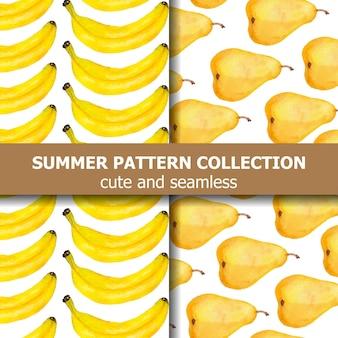Kolekcja egzotycznych wzorów z akwarelowymi gruszkami i bananami. baner lato. wektor