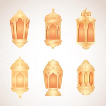 Kolekcja, eid al adha mubarak, dekoracja złotych lampionów