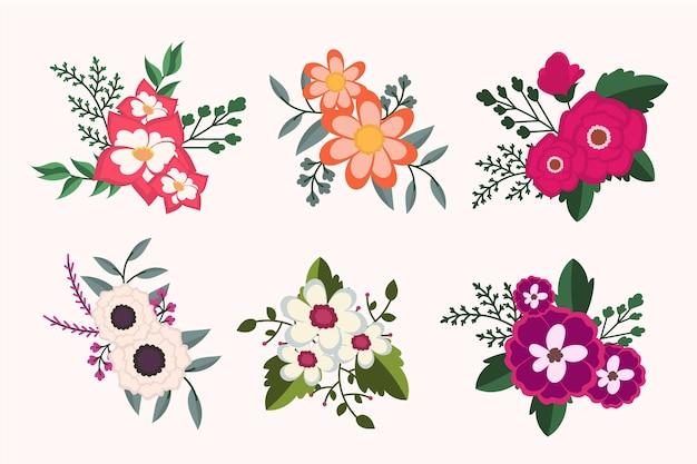Kolekcja ekologicznych kwiatów płaskich