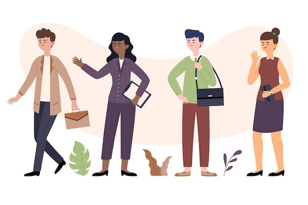 Kolekcja ekologicznych płaskich ludzi biznesu