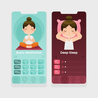 Kolekcja ekranów aplikacji do medytacji
