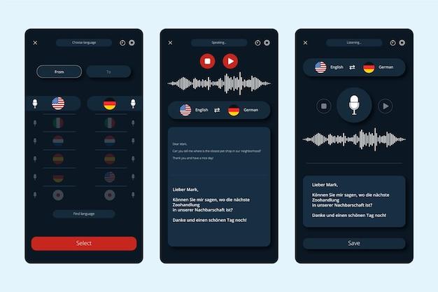 Kolekcja ekranów dla aplikacji do tłumaczenia głosu