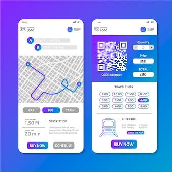 Kolekcja ekranów szablonów aplikacji transportu publicznego