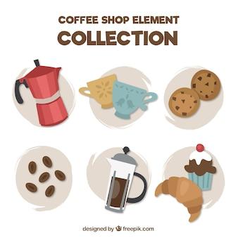 Kolekcja ekspresem do kawy i słodycze w stylu vintage