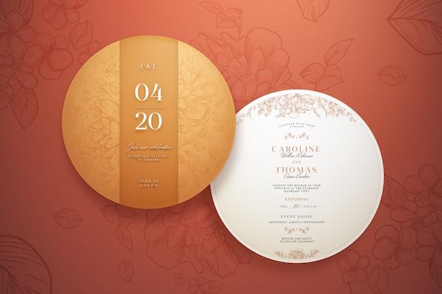 Kolekcja elegancki okrągły szablon zaproszenia ślubne