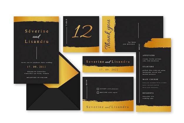Kolekcja elegancki szablon zaproszenia ślubne