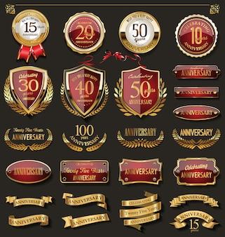 Kolekcja eleganckich czerwonych i złotych odznak rocznicowych