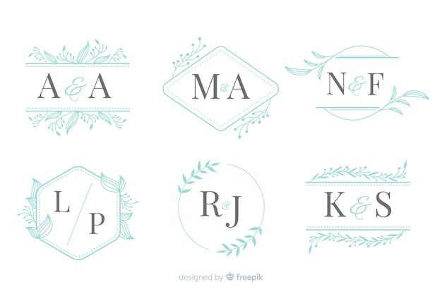 Kolekcja eleganckiego ozdobnego monogramu ślubnego