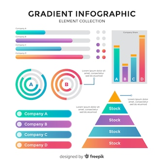 Kolekcja element gradientu infographic