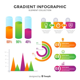 Kolekcja element gradientu infographic